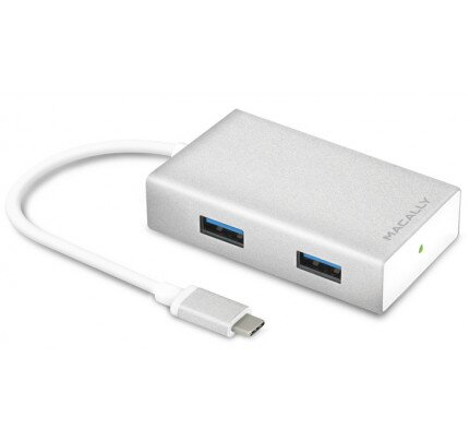 "Macally USB Type C to 4 Port USB-A Aluminum Hub for 12"" MacBook"