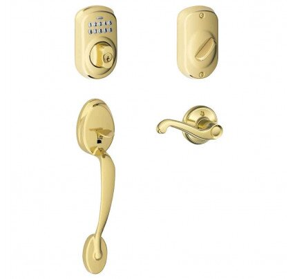Schlage Keypad Deadbolt with Plymouth Trim Paired with Plymouth Trim Handleset and Flair Lever