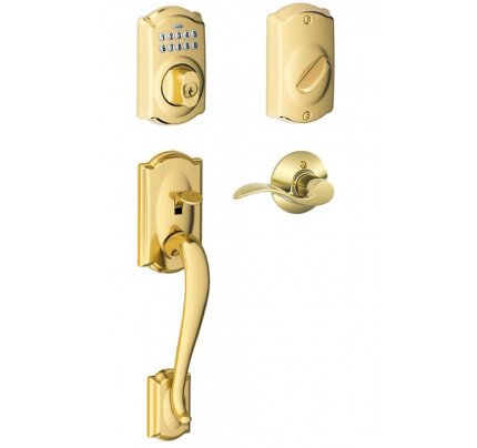 Schlage Camelot Trim Keypad Deadbolt Paired with Camelot Trim Front Entry Handle and Accent Lever