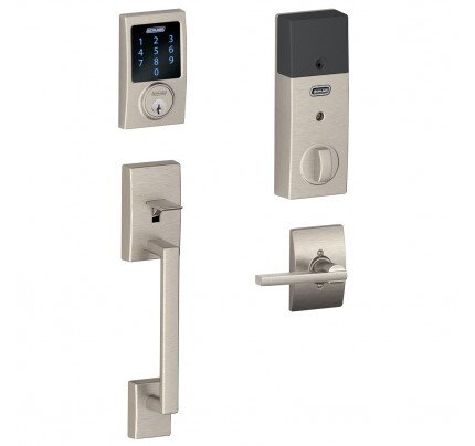 Schlage Connect Touchscreen Deadbolt with Century Trim Paired with Century Handleset and Latitude Lever with Century Trim