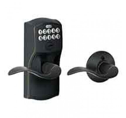 Schlage Keypad Lever with Camelot Trim and Accent Lever with Auto Lock