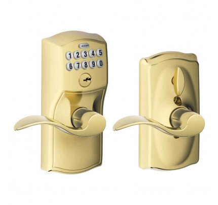 Schlage Keypad Lever with Camelot Trim and Accent Lever with Flex Lock