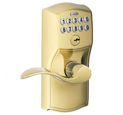 Schlage Connected Keypad Lever with Camelot Trim and Accent Lever