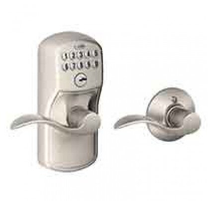 Schlage Keypad Lever with Plymouth Trim and Accent Lever with Auto Lock