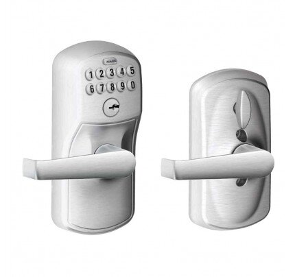 Schlage Keypad Lever with Plymouth Trim and Elan Lever with Flex Lock