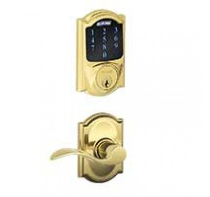 Schlage Connect Touchscreen Deadbolt with Alarm with Camelot Trim Paired with Accent Lever with Camelot Trim