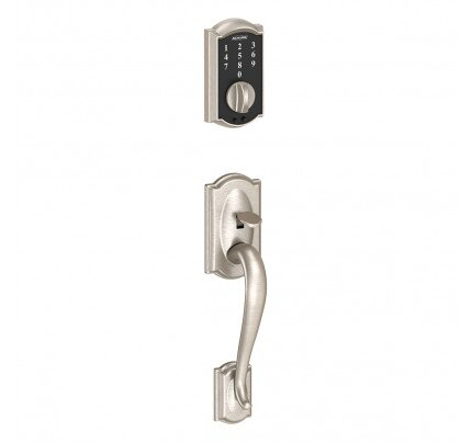 Schlage Touch Keyless Touchscreen Deadbolt with Camelot Trim Paired with Camelot Handleset and Accent Lever with Camelot Trim